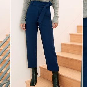 Wilfred high-waisted tie front pants in navy